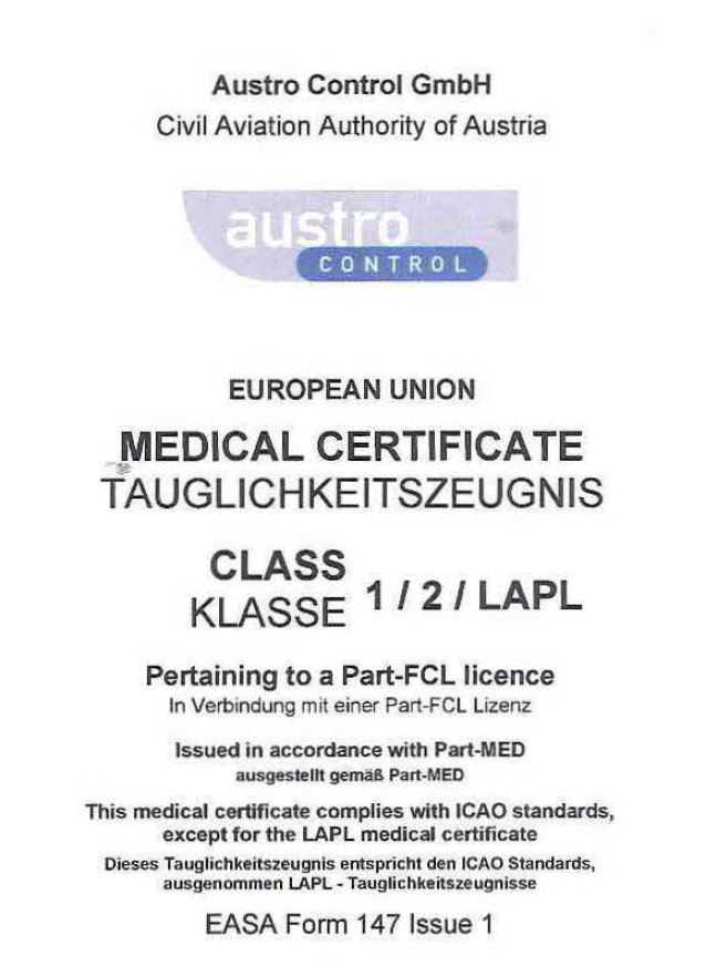EASA Medical Certificate