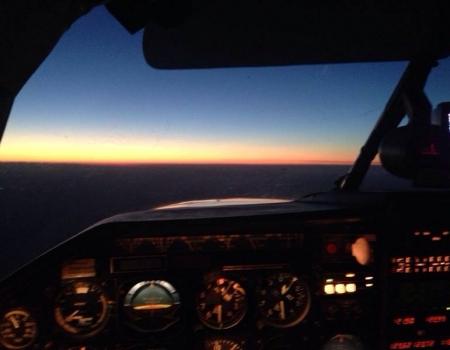 Mooney M20k cockpit night flying