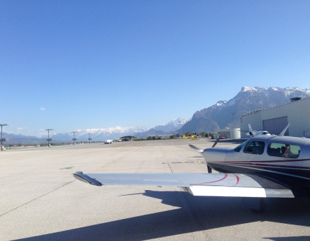 Mooney M20K at Salzburg Airport LOWS