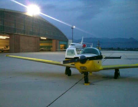 Mooney M20K infront of GA Hangar in Salzburg LOWS